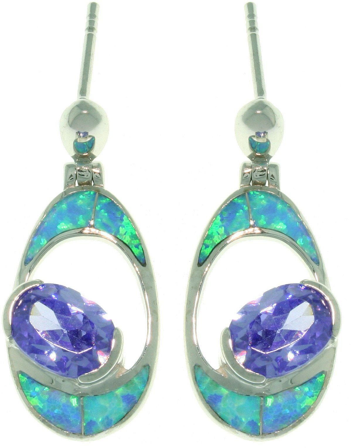 Jewelry Trends Sterling Silver Created Blue Opal and Purple Cubic Zirconia Oval Dangle Earrings