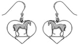Jewelry Trends Sterling Silver Horse in Heart Dangle Earrings