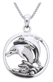 Jewelry Trends Sterling Silver Double Jumping Mother and Baby Dolphin Circle Pendant on 18 Inch Box Chain Necklace