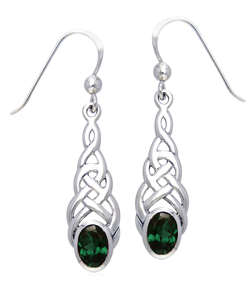 Jewelry Trends Sterling Silver Celtic Linear Knot Work Elegant Dangle Earrings with Green Glass