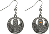 Jewelry Trends Pewter Rhinestone Egyptian Cartouche Earrings
