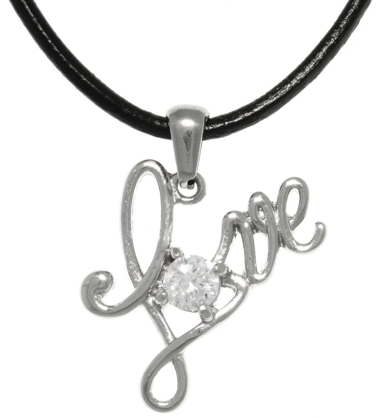 Jewelry Trends Stainless Steel Love Word Sentiment Pendant With CZ Crystal on Black Leather Necklace