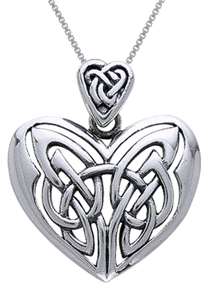 Jewelry Trends Sterling Silver Celtic Heart Pendant on 18 Inch Box Chain Necklace Gift
