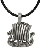 Jewelry Trends Pewter Viking Ship Pendant with 18 Inch Black Leather Cord Necklace