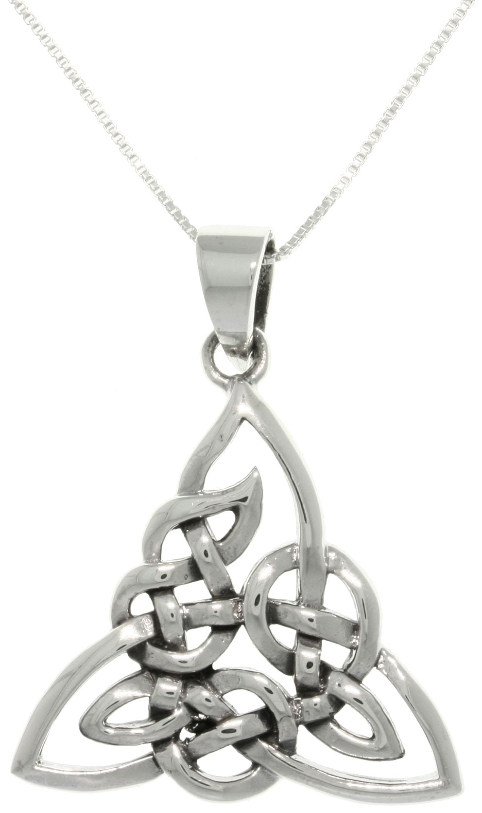 Jewelry Trends Sterling Silver Celtic Triangle Trinity Knot Pendant with 18 Inch Chain Necklace