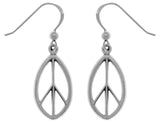 Jewelry Trends Sterling Silver Oval Peace Sign Dangle Earrings