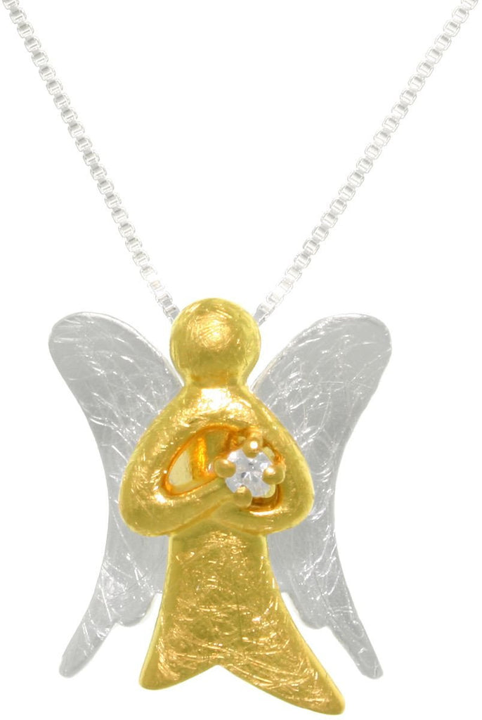Jewelry Trends Sterling Silver 18k Gold Vermeil Winged Angel Pendant Necklace