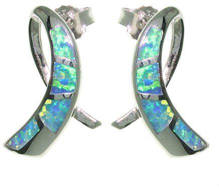 Jewelry Trends Sterling Silver Created Blue Opal Ribbon Post Earrings Awareness Ribbon