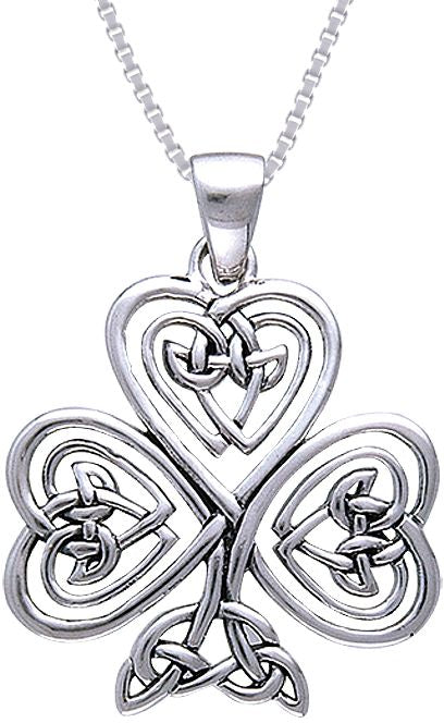 Jewelry Trends Sterling Silver Celtic Claddagh Clover Shamrock of Faith Pendant on Chain Necklace