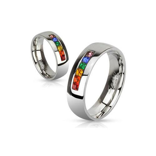 Jewelry Trends Stainless Steel Gay Pride Wedding Band Ring with Rainbow CZ Crystals Whole Sizes 5 - 13 - 6