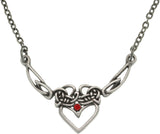 Jewelry Trends Pewter Celtic Princess Heart with Red Crystal Chain Necklace