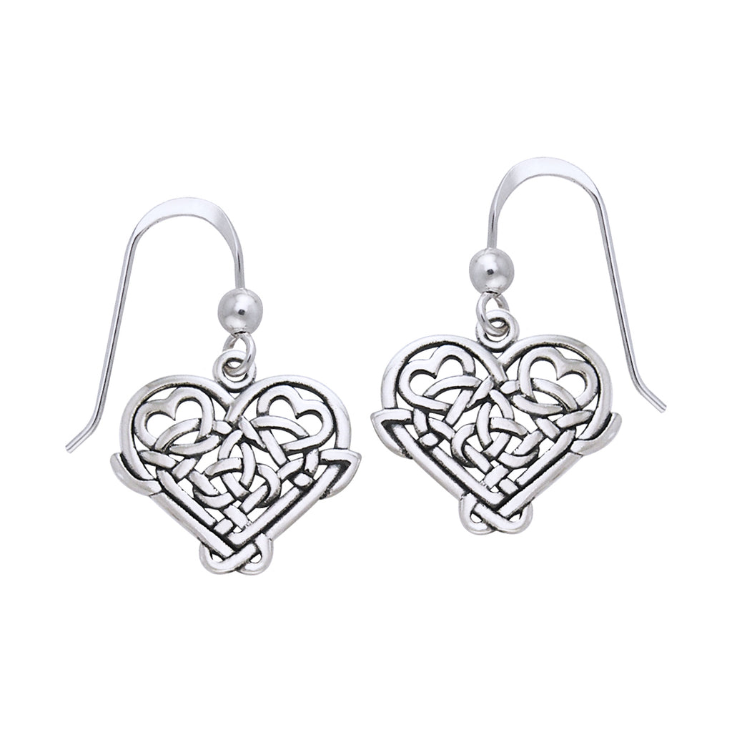 Jewelry Trends Sterling Silver Celtic Knot Eternal Love Heart Dangle Earrings Gift