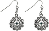 Jewelry Trends Pewter Celtic Heart Knot with Green Crystal Dangle Earrings
