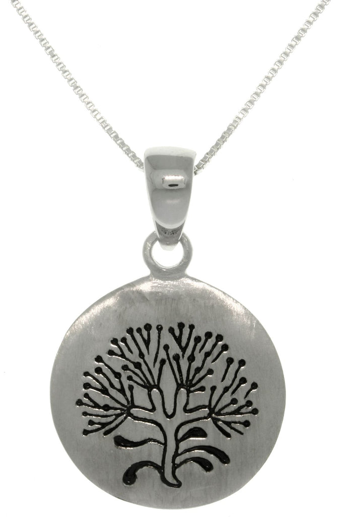 Jewelry Trends Sterling Silver Rune Stone Tree of Life Pendant on 18 Inch Box Chain Necklace for Spiritual Growth