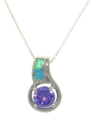 Jewelry Trends Sterling Silver Created Blue Opal and Round Amethyst Purple CZ Pendant on 18 Inch Box Chain Necklace