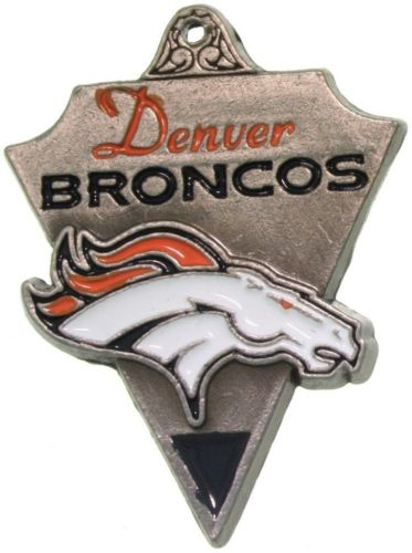 Jewelry Trends Pewter Denver Broncos NFL Pennant Pendant on Black Leather Necklace