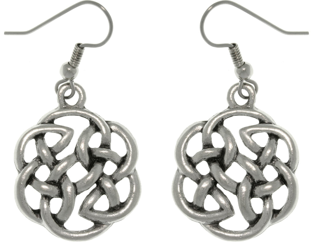 Jewelry Trends Pewter Celtic Knot Shield of Destiny Dangle Earrings