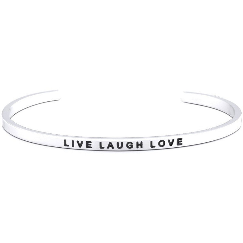 Jewelry Trends Stainless Steel LIVE LAUGH LOVE Message Bangle Stacking Bracelet