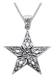 Jewelry Trends Sterling Silver Celtic Knot Work Star Pendant on 18 Inch Box Chain Necklace