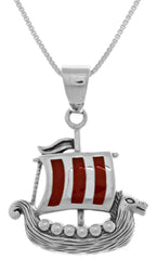 Jewelry Trends Sterling Silver Viking Ship Pendant with Red Enamel on 18 Inch Box Chain Necklace