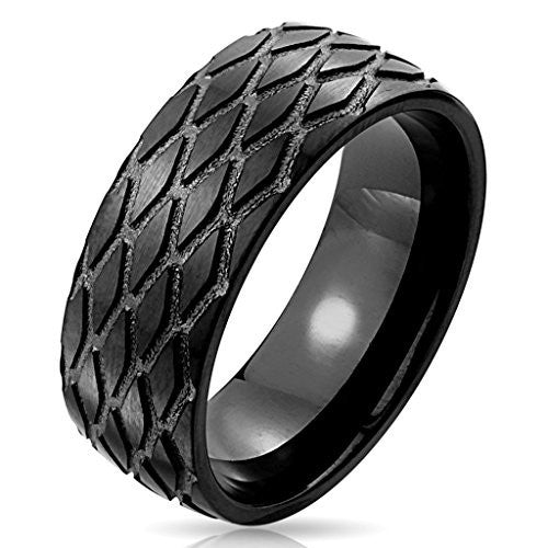 Jewelry Trends Stainless Steel Black IP Grooved Tread Pattern Band Ring