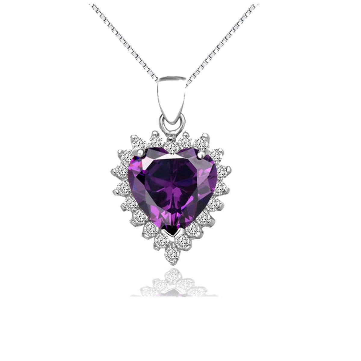 Jewelry Trends Sterling Silver Created Amethyst and CZ Heart Pendant on Box Chain Necklace Gift