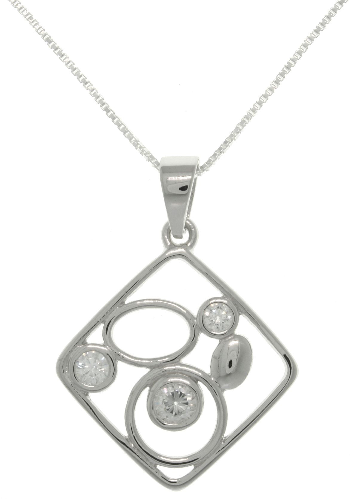 Jewelry Trends Sterling Silver Square Shape Geometric Pendant with CZ on Box Chain Necklace
