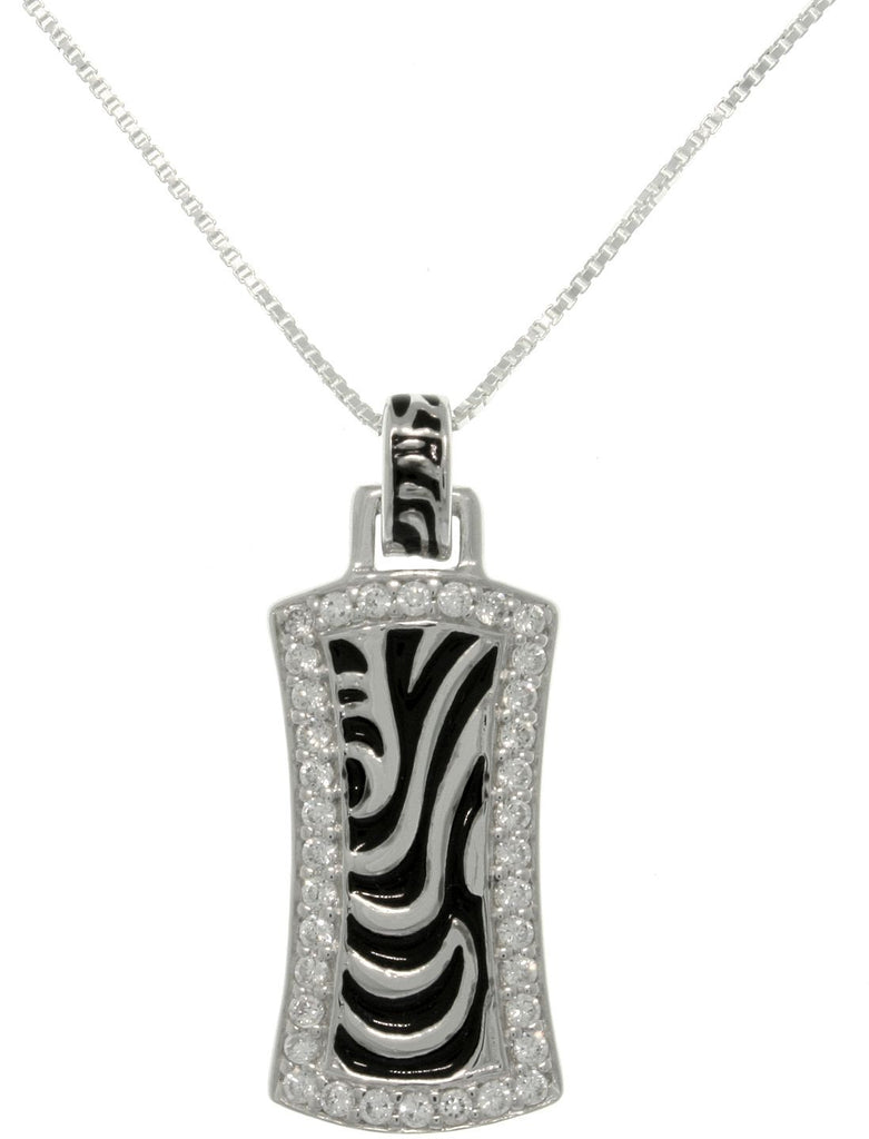 Jewelry Trends Sterling Silver Pave CZ Zebra Stripe Rectangle Pendant With 18 Inch Chain Necklace