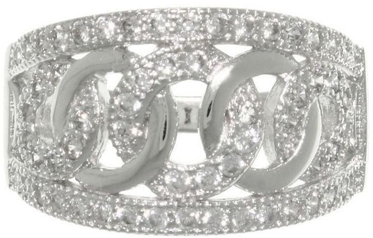 Jewelry Trends Sterling Silver Pave set Cubic Zirconia CZ Love and Hope Links Ring Whole Sizes 6 - 9
