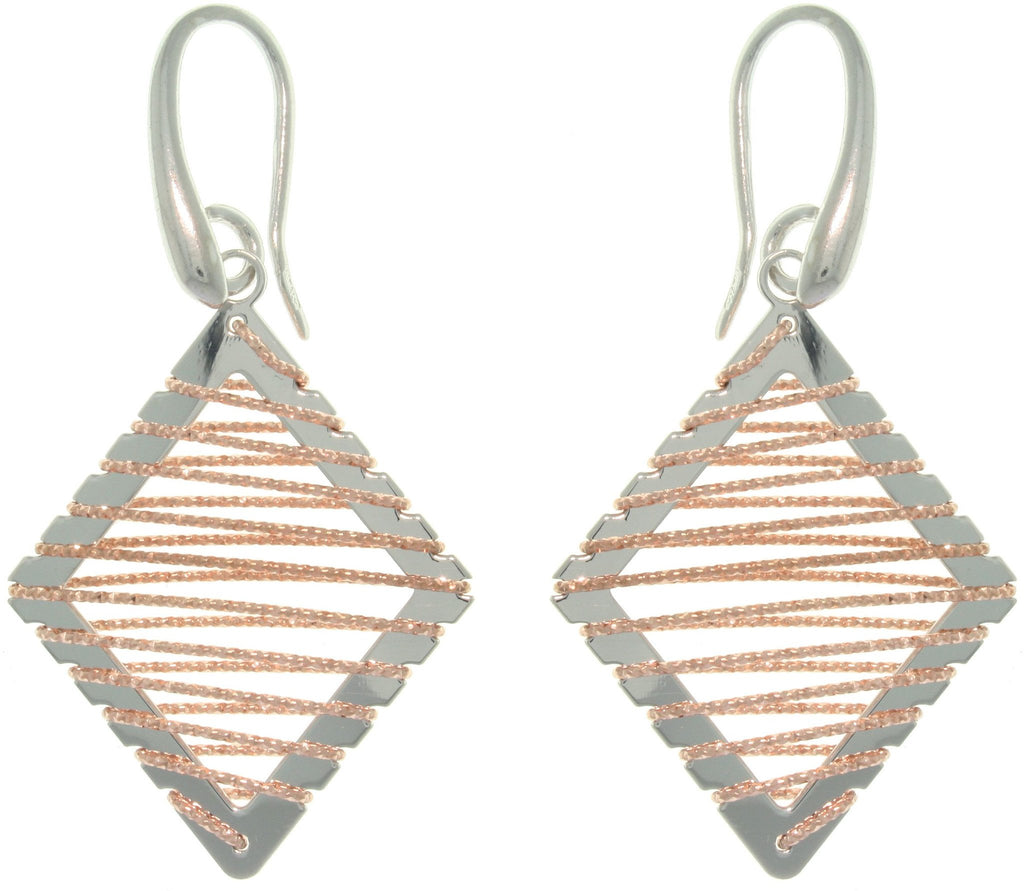 Jewelry Trends Sterling Silver and Rose Gold Diamond-Shaped Dangle Earrings with Wrapped Sparkle Twisted Rope Design