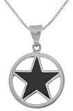 Jewelry Trends Sterling Silver Black Onyx Star Pentacle Pendant on 18 Inch Box Chain Necklace
