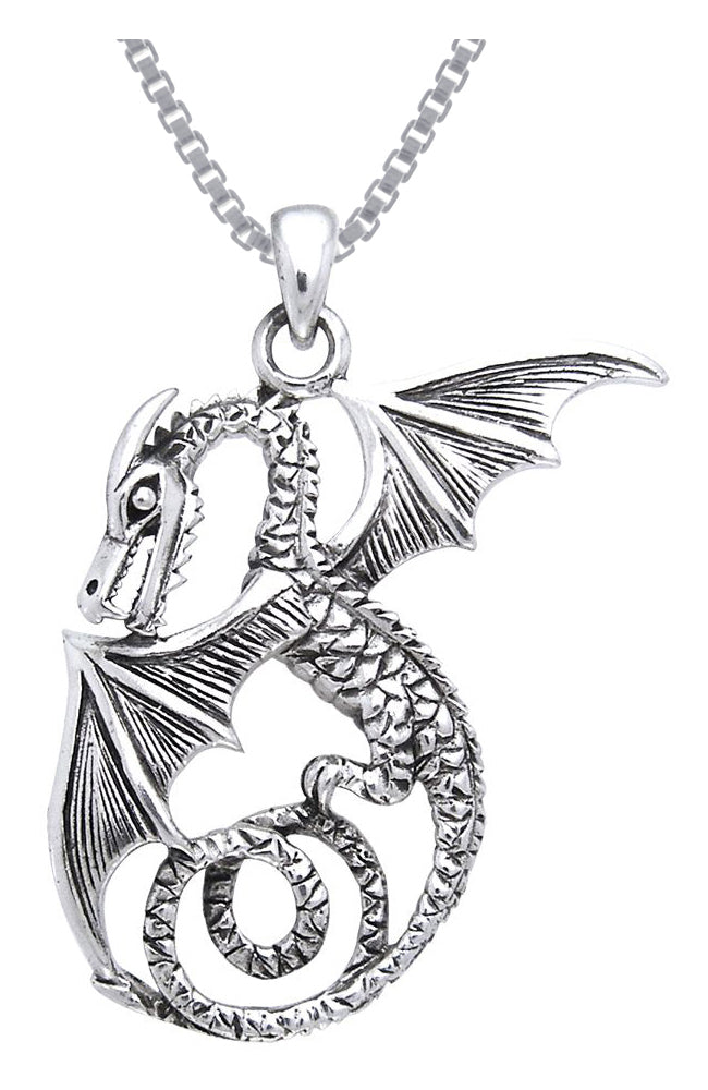 Jewelry Trends Sterling Silver Winged Sea Serpent Dragon Pendant on 18 Inch Box Chain Necklace