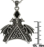 Jewelry Trends Pewter Double Dragon Triangle Celtic Pendant with 25 Inch Chain Necklace