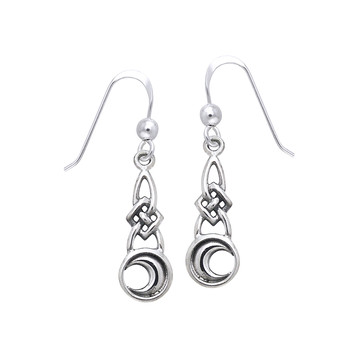 Jewelry Trends Sterling Silver Celtic Knotwork Crescent Moon Dangle Earrings