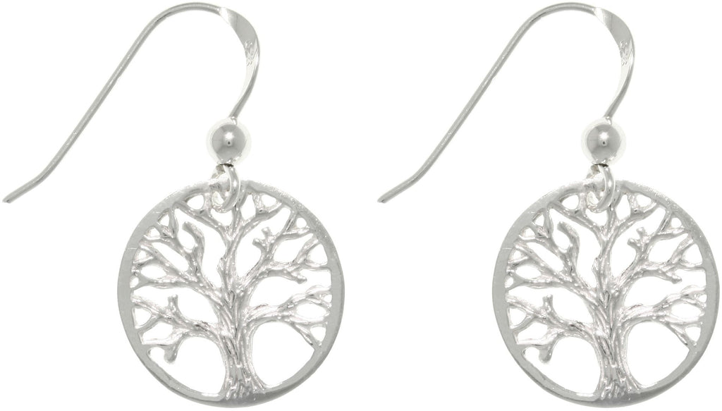 Jewelry Trends Sterling Silver Round-cut Out Tree Of Life Dangle Earrings