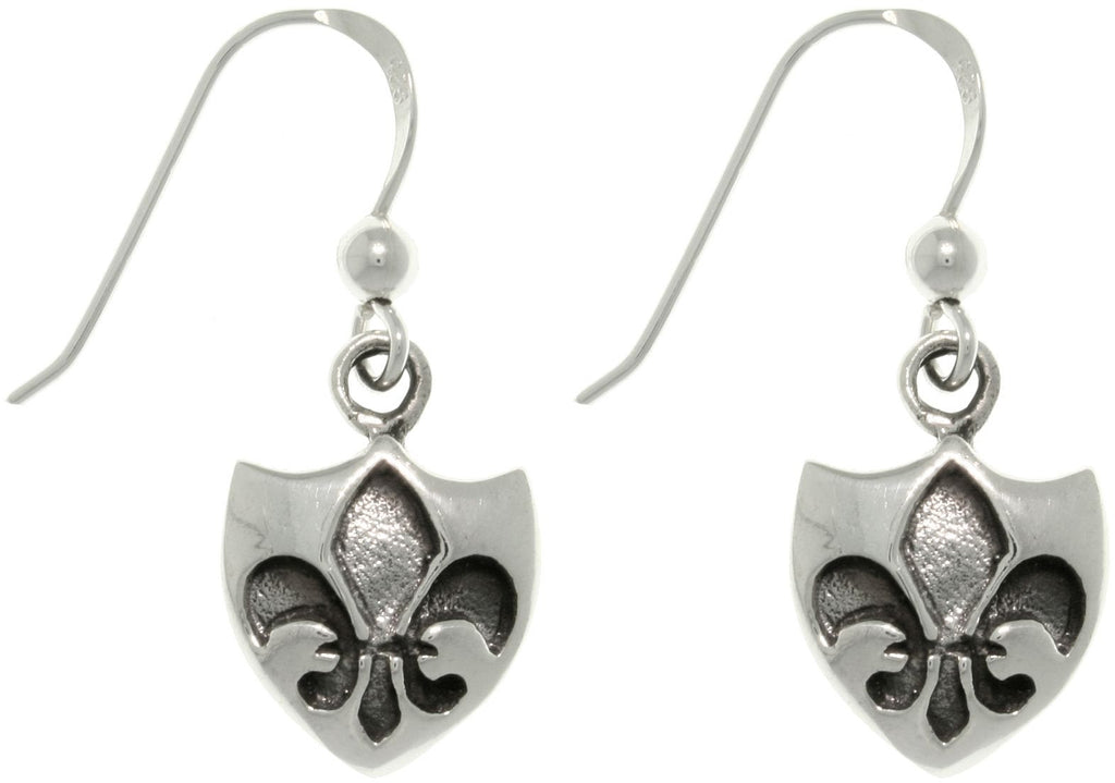 Jewelry Trends Sterling Silver Fleur De Lis Shield Dangle Earrings