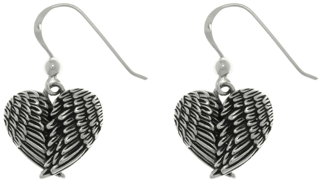 Jewelry Trends Sterling Silver Angel Wings Heart Dangle Drop Earrings