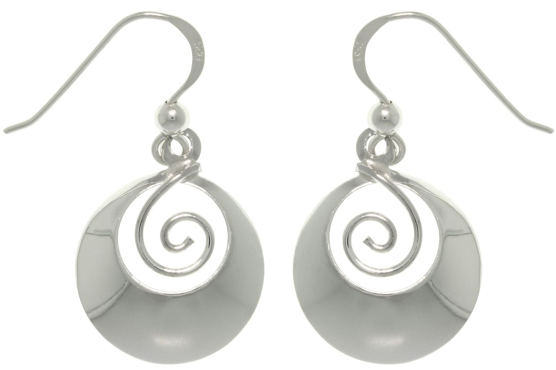 Jewelry Trends Sterling Silver Round Framed Swirl Earrings