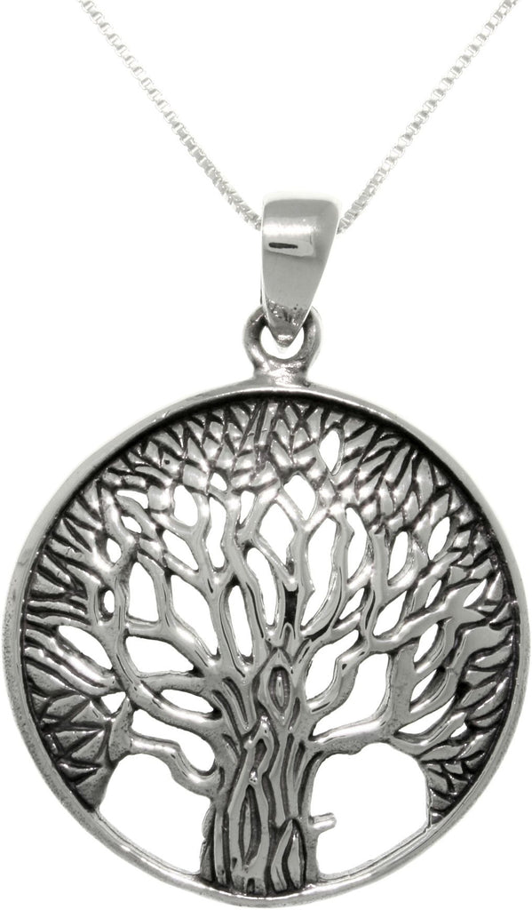 Jewelry Trends Sterling Silver Organic Tree of Life Round Pendant on 18 Inch Box Chain Necklace