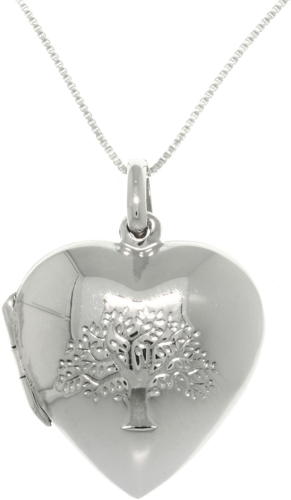 Jewelry Trends Sterling Silver Tree of Life Heart Locket Pendant with 18 Inch Chain Necklace