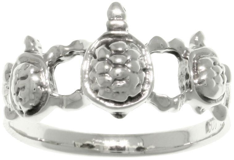 Jewelry Trends Sterling Silver Three Linked Turtles Band Ring Whole Sizes 6 - 9