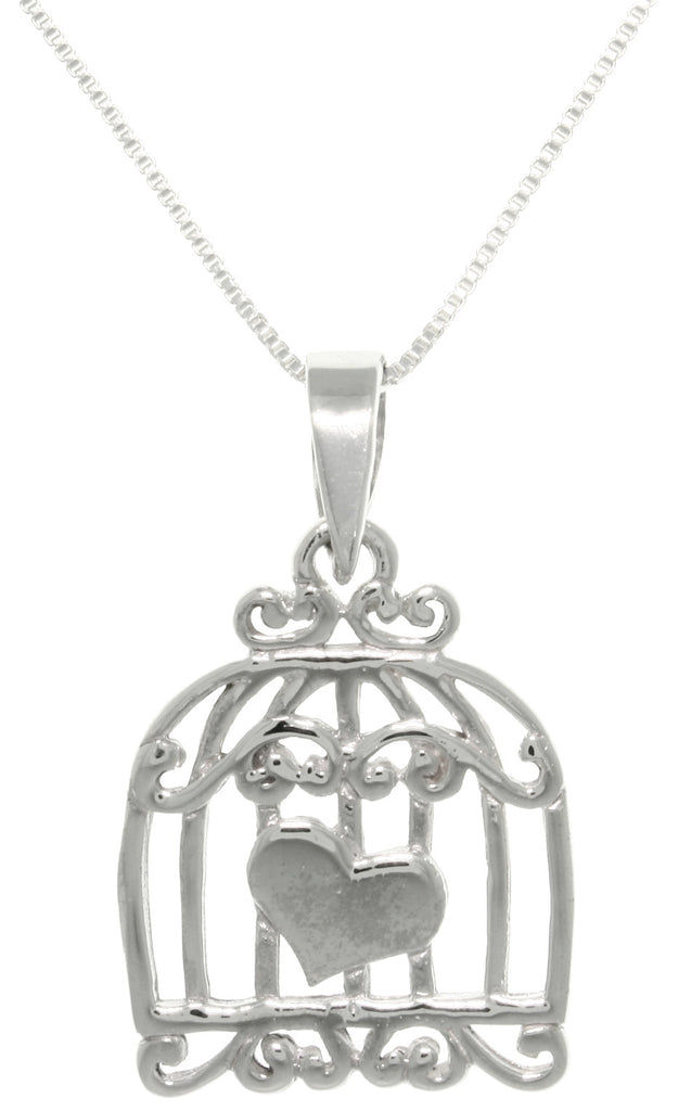 Jewelry Trends Sterling Silver Caged Heart Love Pendant With 18 Inch Chain Necklace