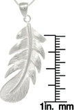 Jewelry Trends Sterling Silver Polished Long Feather Pendant on 18 Inch Box Chain Necklace