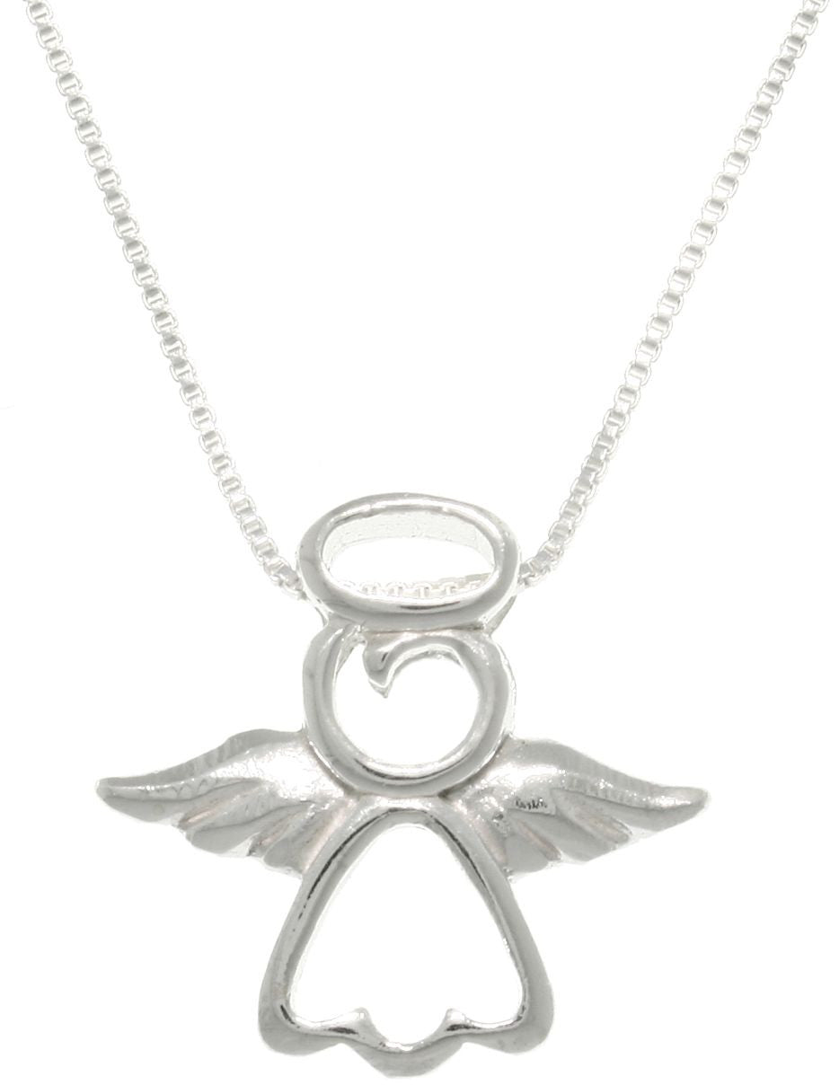 Jewelry Trends Sterling Silver My Little Angel Pendant with Chain Necklace First Communion Religious Jewelry