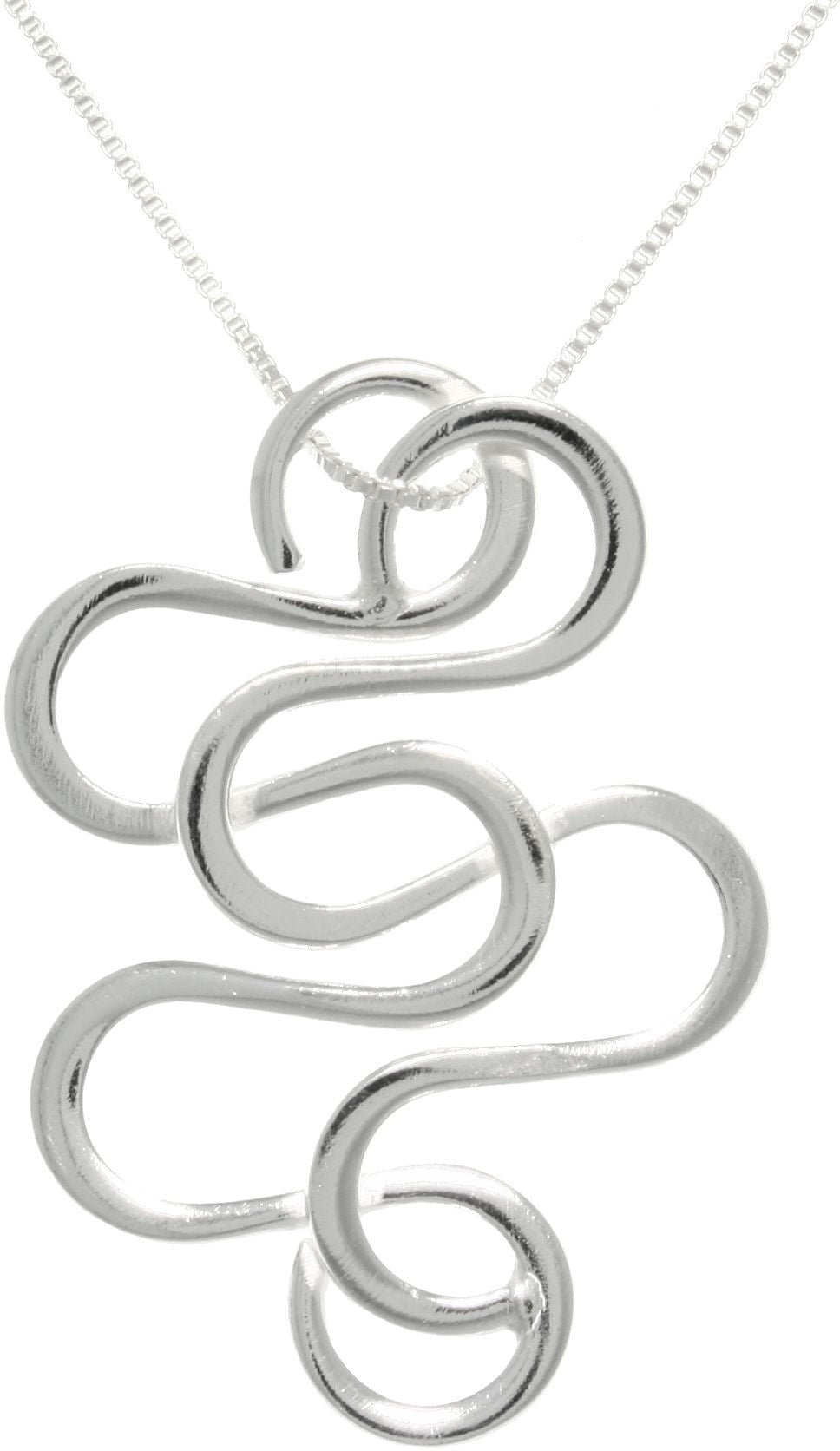 Jewelry Trends Sterling Silver Snake Swirl Pendant on 18 Inch Box Chain Necklace