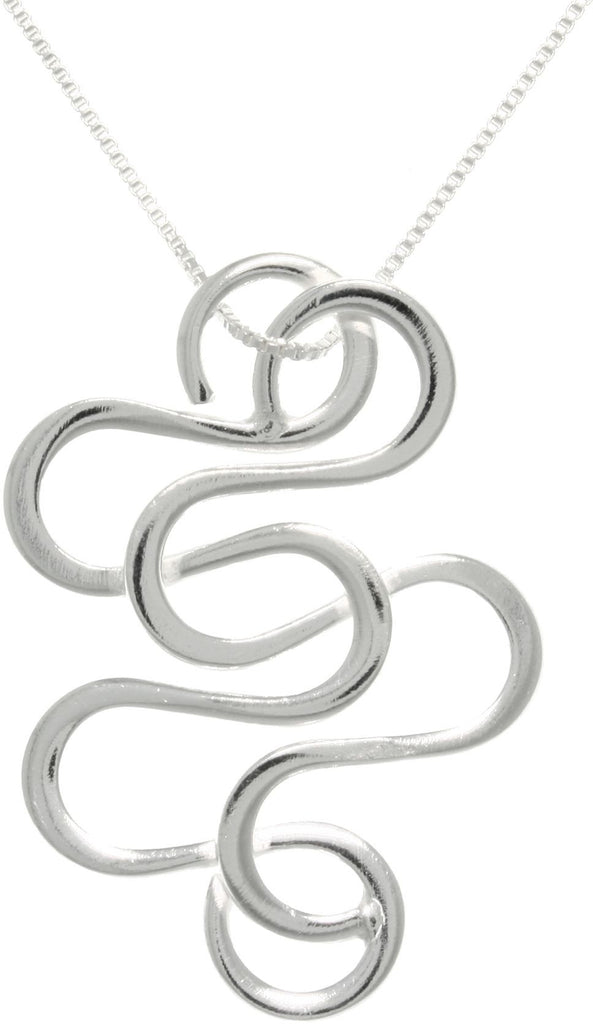 Jewelry Trends Snake Swirl Sterling Silver Pendant Necklace 18""
