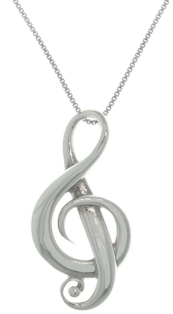 Jewelry Trends Sterling Silver Treble G Clef Music Note Symbol Pendant on 18 Inch Box Chain Necklace