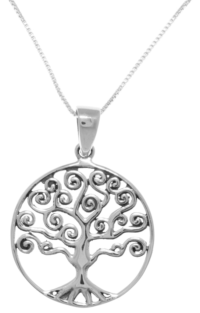 Jewelry Trends Sterling Silver Rope Edge Celtic Tree of Life Pendant Necklace 18