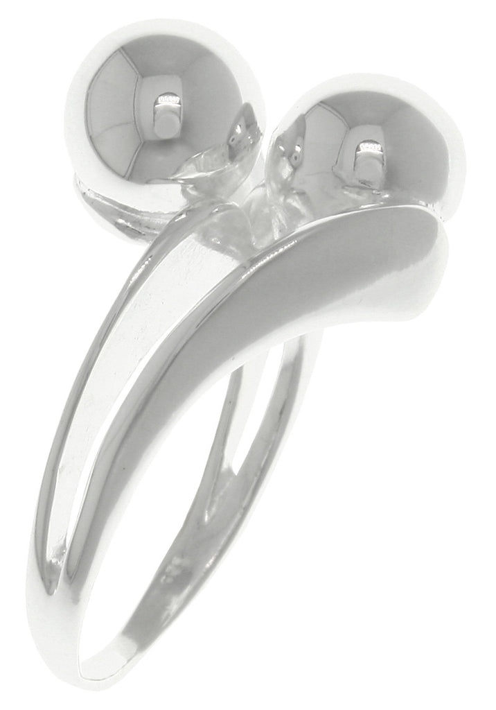 Jewelry Trends Sterling Silver Split Shank Double Ball Cocktail Ring Whole Sizes 6 - 9