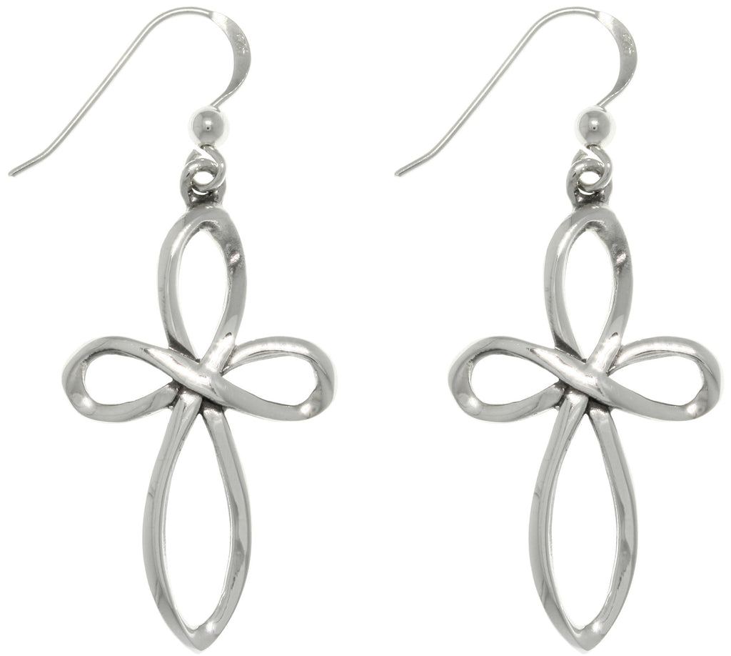 Jewelry Trends Sterling Silver Open Weave Faith Cross Dangle Earrings